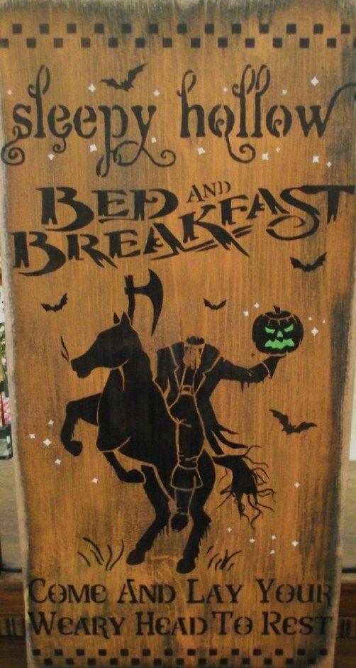 Primitive Sleepy Hollow bed and breakfast Inn Sign Headless Horseman New York Halloween Decorations Pumpkin Patch Hayride Spooky Horses by SleepyHollowPrims, $35.00 USD
