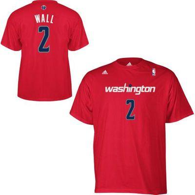 Mens Washington Wizards John Wall adidas Red Net Number T-Shirt