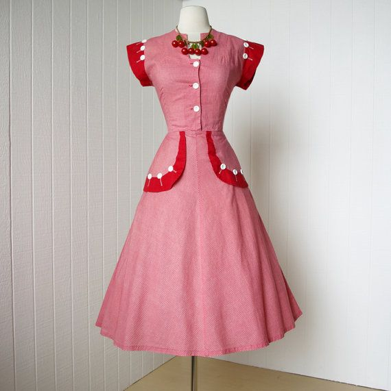 vintage 1940's dress ...rockin red gingham BETTY MAID pin-up dress with fabulous button details