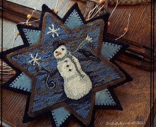 Snowflake 'N Crow Original Snowman Primitive Punch Needle Star Wool Mat OOAK   eBay