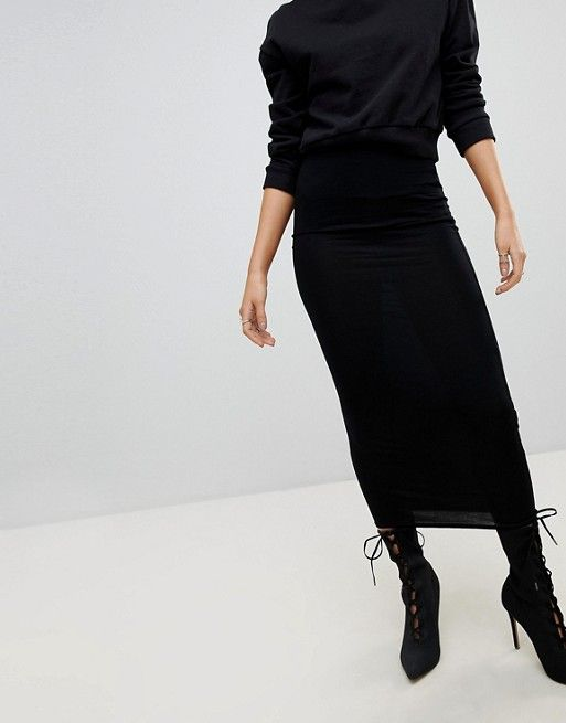 31ba525968ef PrettyLittleThing basic midaxi skirt in black in 2019 | Werking Gurl ...
