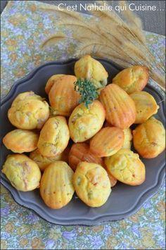 Madeleines salées lardons, olives et thym
