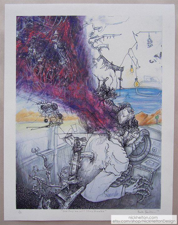 Strange, weird, gonzo, surreal, pop surrealism, figure, pen and ink, pencil, pastel, art, nightmare, print, contemporary art by Nick Helton Design  https://www.etsy.com/listing/214139845/strange-weird-gonzo-surreal-pop?ref=shop_home_active_5