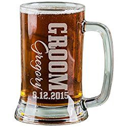 One 16 Oz Groom Groomsmen Beer Mug Wedding Party Gifts for Groom Groomsman Beer Glass Etched Engraved Custom with Name Wedding Title and a Date for Wedding, Engagement Bachelor or Bridal Party Gift or a Favor Idea Wholesale Bulk Quantity Discounts