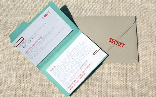 """I really like this. Top Secret party invites. I may have to """"borrow"""" this idea some day :)"""