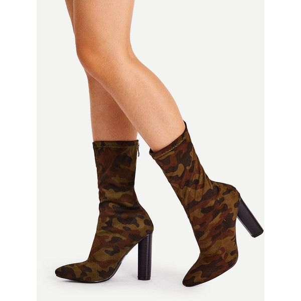SheIn(sheinside) Camouflage Print Wide Fit High Heeled Boots ($42) ❤ liked on Polyvore featuring shoes, boots, green, wide fit shoes, camouflage high heel boots, wide high heel shoes, wide shoes and camo boots