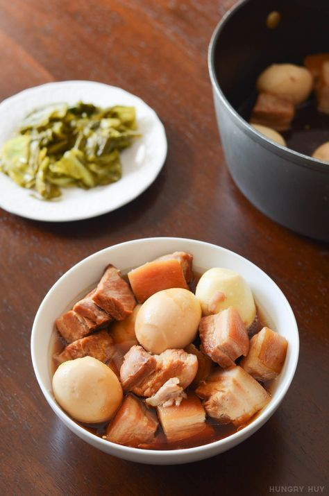 Thit kho with hard-boiled eggs and pickled mustard greens