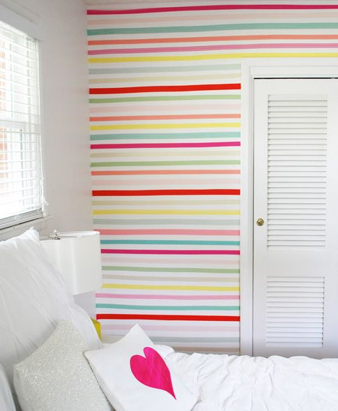 Temporary Wall Treatment Ideas for Renters | Making Home Base - washi tape for a striped statement wall! This is absolutely adorable!