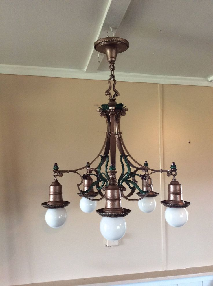 Antique Art Deco 5 Bulb Hanging Light Chandelier 1920s Polychrome Uses Bulbs Or Shades