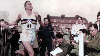 Roger Bannister breaks the four-minute mile in 1954. RIP.