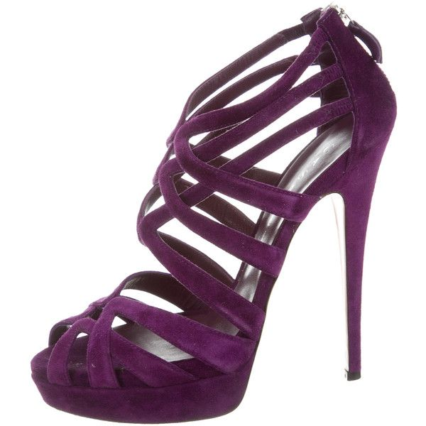 Pre-owned Casadei Platform Cage Sandals ($175) ❤ liked on Polyvore featuring shoes, sandals, purple, purple shoes, caged platform sandals, strappy platform sandals, purple suede sandals and suede platform sandals