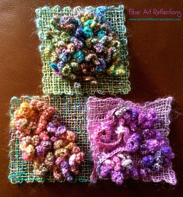 Fiber Art Reflections: Freeform crochet and woven pin loom squares