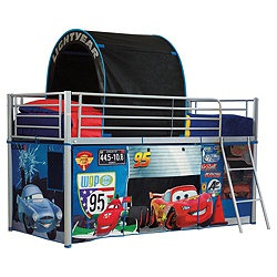 This Cars mid sleeper bed tent pack will transform your childs mid sleeper into a fun Cars themed play area. The set is easy to assemble and creates a variety of exciting play areas. The tent consists of 3 fabric panels that can be easily fitted to your bed. The first goes around the base, creating a the perfect play area with your own Cars workshop underneath the bed. The second is a race tunnel that you can race through as you climb the ladder. The third creates a finish line canopy over…