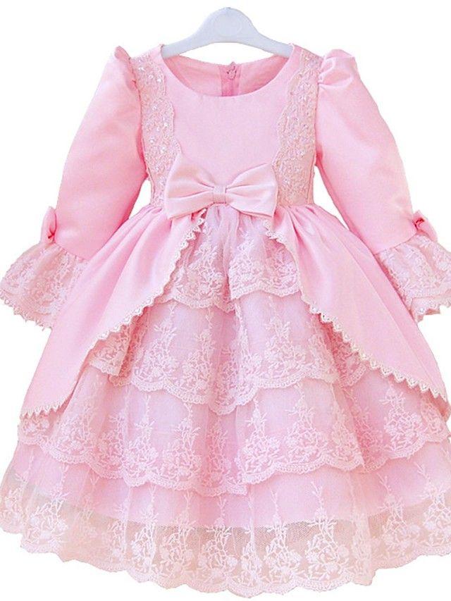 Vestido de niña de las flores - Corte Princesa Hasta la Rodilla - Encaje/Satén Manga Larga - USD $ 49.99