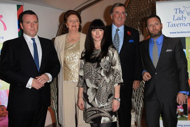 Sir Terry Wogan with his wife Lady Helen Wogan sons Alan (L), Mark (R) and daughter Katerine (C)