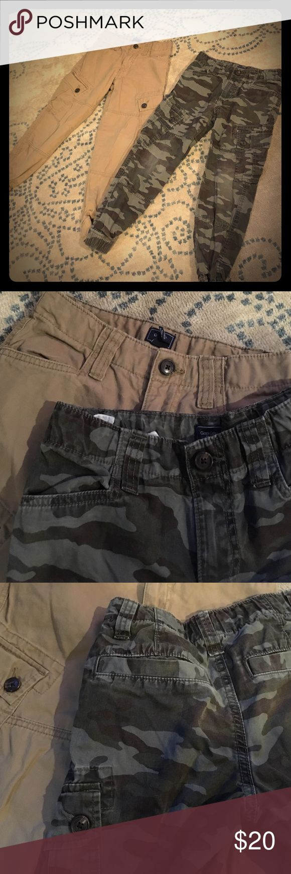 Boys slim cargo pants Boys cargo slim pants, adjustable waist, garter stretch in ankles, super cute, size 8..$20 for both GAP Bottoms Casual