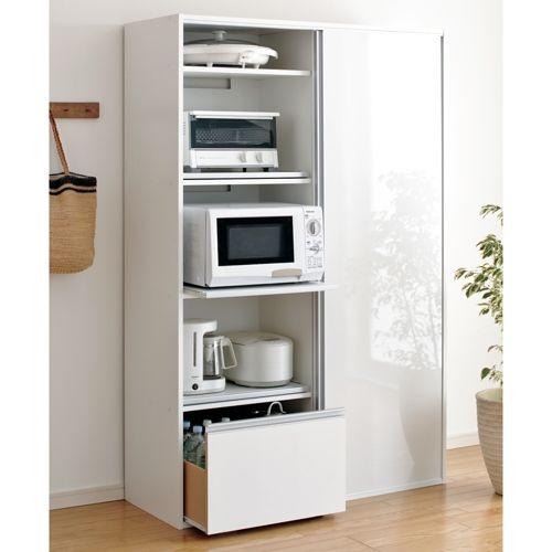 キッチン家電や食器をサッとまとめて目隠しできる引き戸収納食器棚。引き戸式扉は省スペースで、狭いキッチンでも使いやすいキッチン収納家具。収納棚とスライドテーブルが便利なレンジ台、食品ストッカーとしても便利なキッチン収納です。