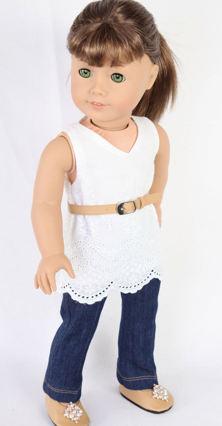 Handmade to fit like American Girl Doll Clothes, 18 Inch Doll Clothes, MODERN CITY CHIC, Embroidered Tunic, Denim Jeans, Ballet Flats, Belt by ModernDollWorld on Etsy https://www.etsy.com/listing/223700726/handmade-to-fit-like-american-girl-doll