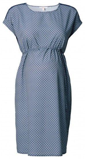 Ženska obleka s kratkimi rokavi za nosečnice ESPRIT MATERNITY - temnomodra
