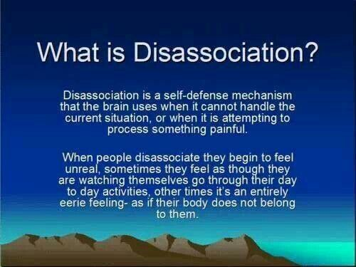 Dissociation - just noticed the misspelled word on this pin. Still good explanation though