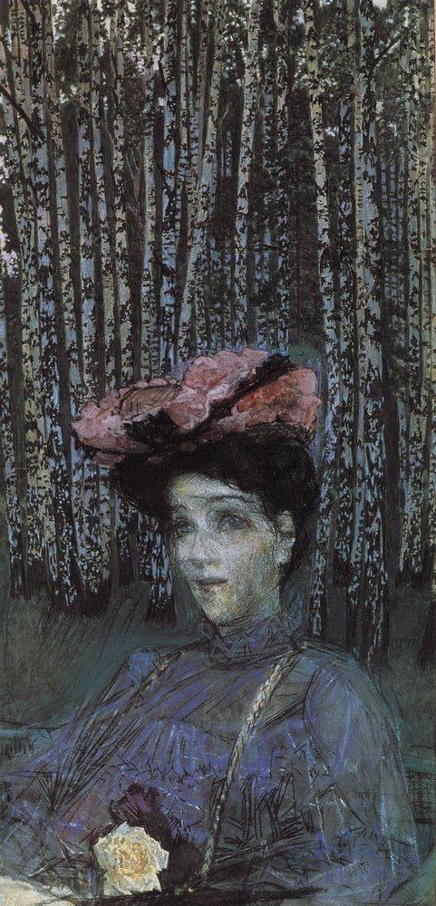 Врубель М. А. Портрет Н.И.Забелы-Врубель на фоне березок. 1904г. Как оперная певица Надежда Забела стала музой для Врубеля? |