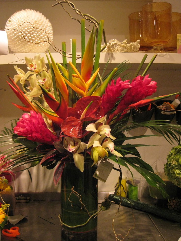 Tropical arrangement while at limelight floral designs in
