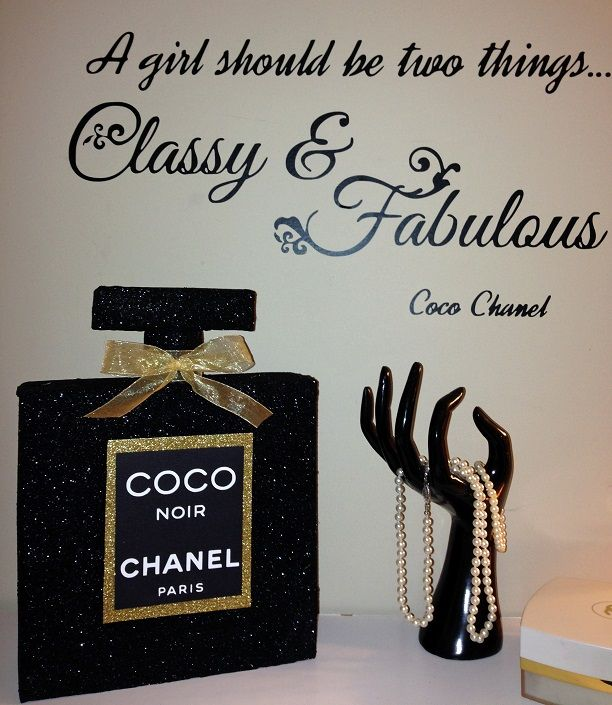 another DIY I made -Coco Chanel Noir-3D perfume bottle---glitter vinyl silhouette Cameo Pinterest.com/shersher135