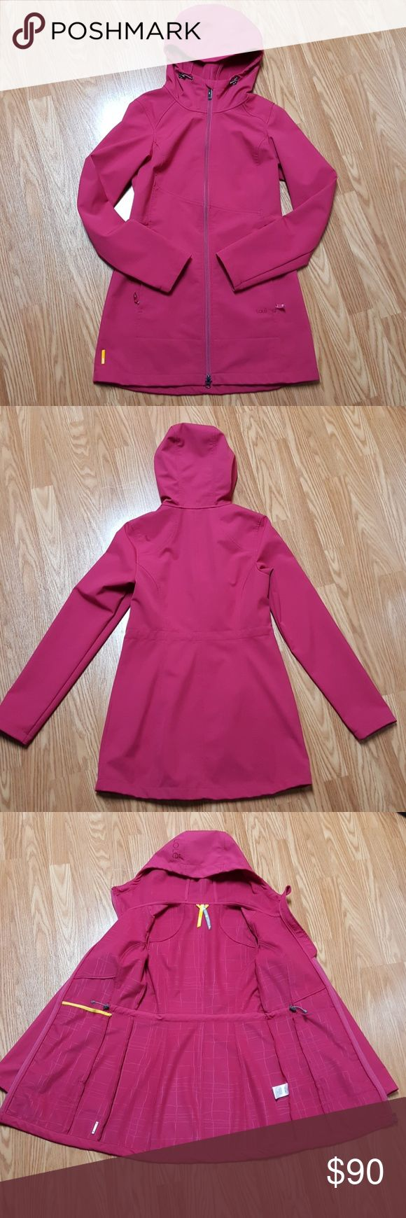 Lole softshell jacket Lole softshell jacket. Excellent used condition, barely worn. Water repellent, soft fleece lining, cinchable waistline and hood. Very flattering. Size Small (4-6). Pink. Thigh length. Lole Jackets & Coats