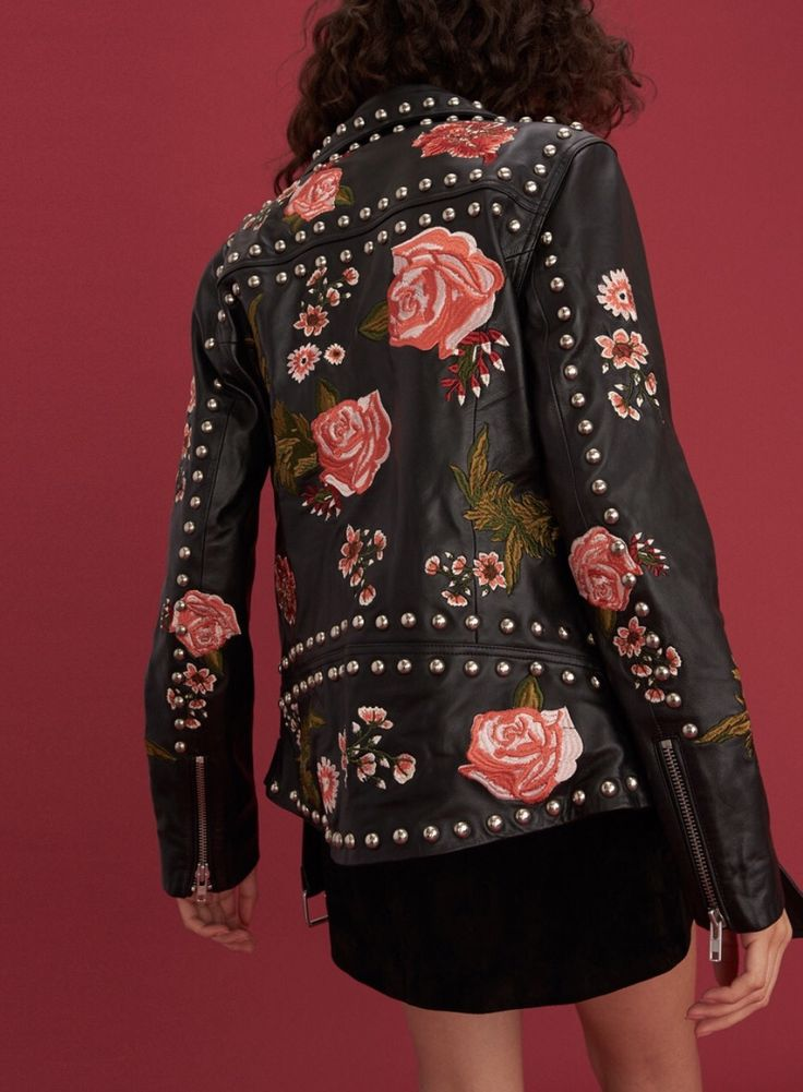 """uncommonthreads: """"Black studded and embroidered over-sized leather biker jacket. LPA """""""