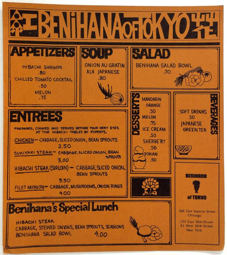 1960's OLD Vintage Menu BENIHANA OF TOKYO First Chicago Illinois Restaurant!