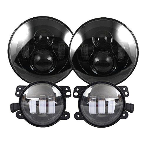 Black 7″ Round LED Headlights with 4 Inch LED Fog Lamps for Jeep Wrangler JK TJ