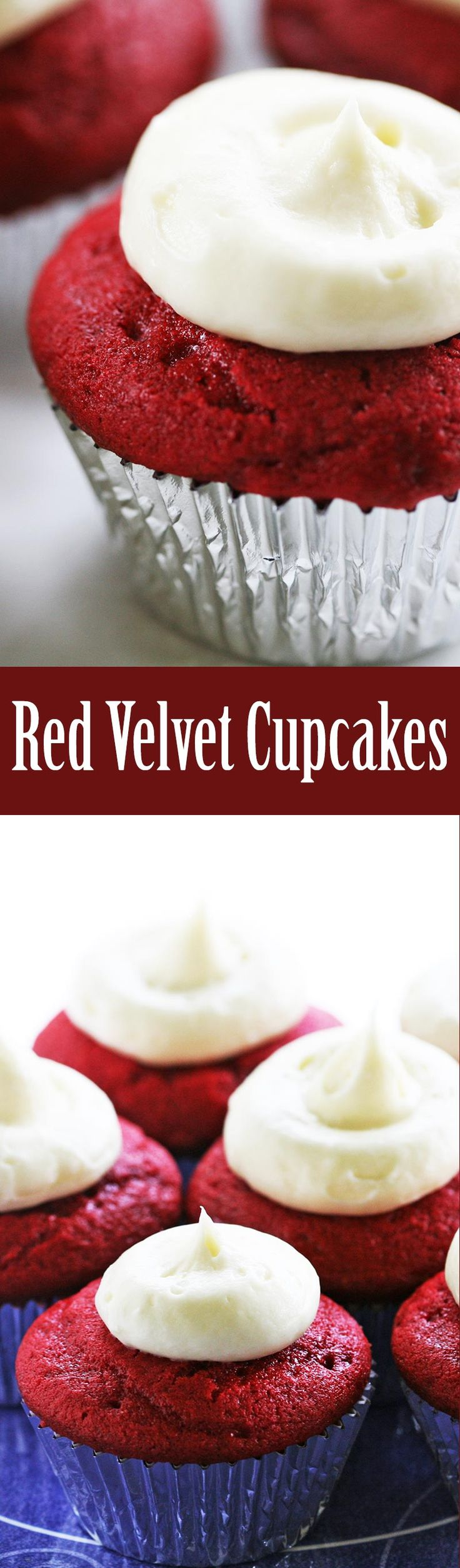 Love red velvet cake? Here it is in cupcake form! Classic red velvet cupcakes with a luscious cream cheese frosting. On SimplyRecipes.com #FourthOfJuly