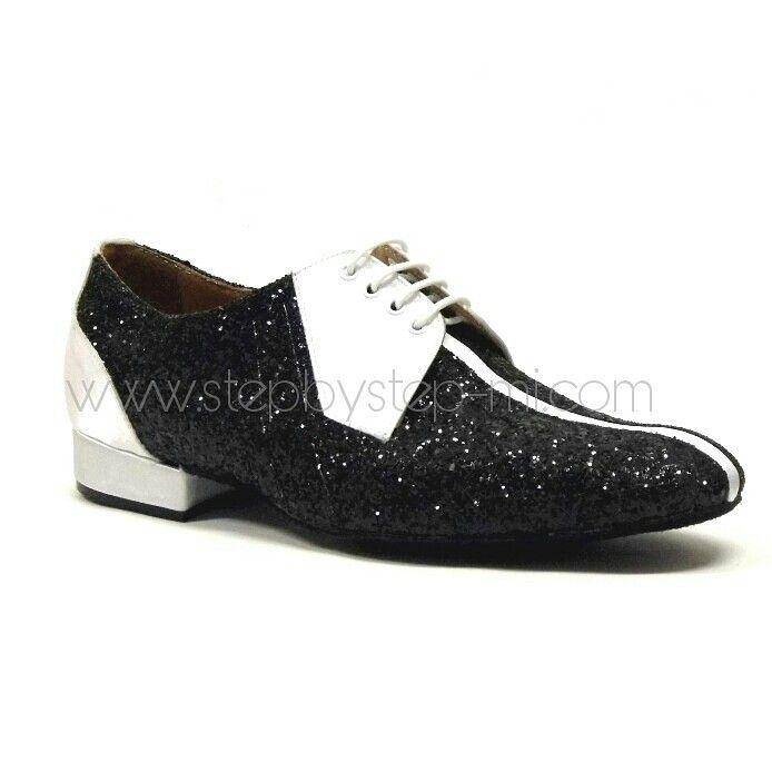 Scarpa uomo in raso bianco e glitter crystal nero, suola in bufalo, tacco  20 stepbystep-mi.com #stepbystep #ballo #tango #salsaon2 #scarpedaballo ...