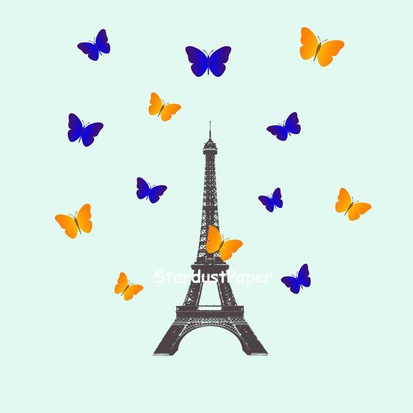 Torre Eiffel Con Farfalle Carta Digitale di StardustPaper su DaWanda.com