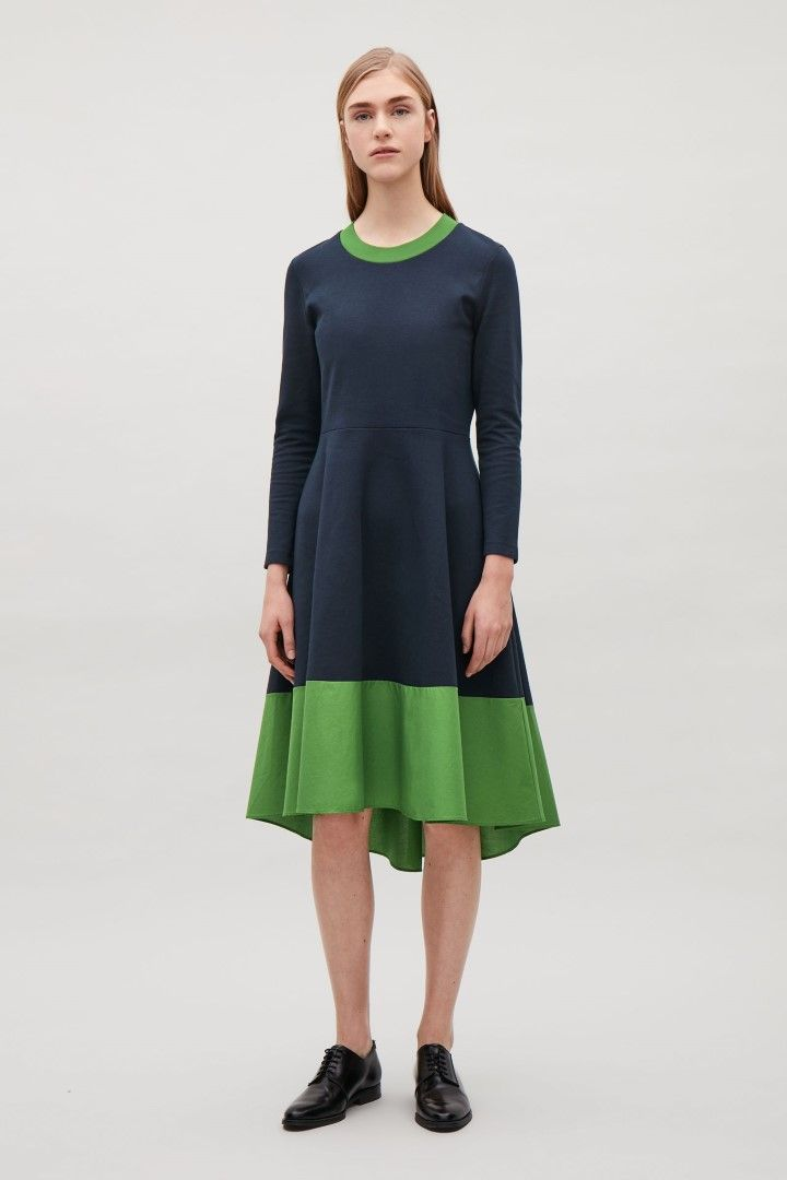 dee1693ac9355 COS image 1 of Panelled long-sleeve jersey dress in Navy | LOOK in ...