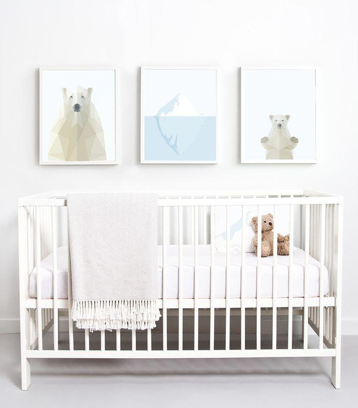 Great Polar Print tryptic for Kids minimalist decor.