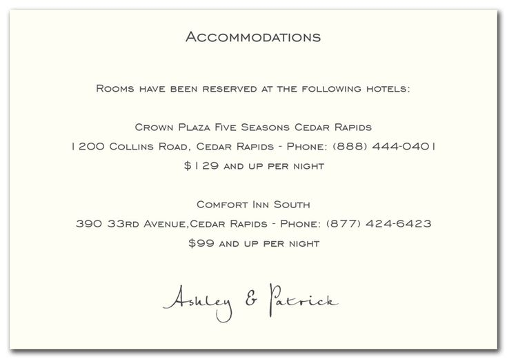 Wedding Invitation Accommodation Card Wording Mini Bridal