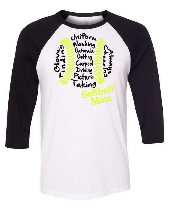 Softball Mom 3/4 Length Baseball Tees With or Without Glitter by GraphicsUnlimitedLLC on Etsy