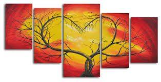 5 piece canvas set. Ik vind het mooi dat het een boom is waarvan de takken in een hart staan. de kleuren vind ik ook mooi bij elkaar passen. ik zou dit wel ergens ophangen, het originele er aan is dat het een 5 stukken canvas is. Ik heb ook genoeg lelijke gezien, aar deze vond ik oprecht erg mooi.