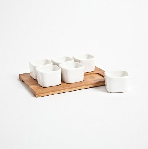 Porcelain N Bamboo 6 Bowl Serving Set - The Modern Bakeware Shop// $9.49