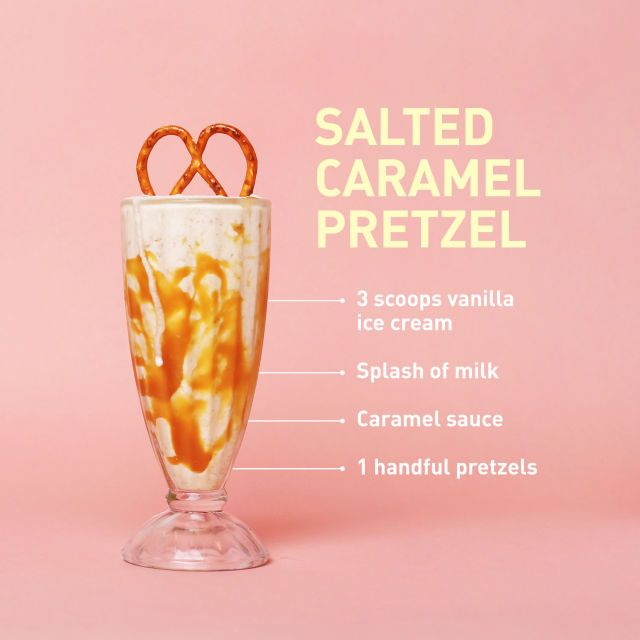 Heaven in a glass for anyone who can't get enough of salty-and-sweet anything: Spoon caramel sauce along the insides of the glass, then pour in milkshake mixture and garnish with (duh) a pretzel.   - Delish.com