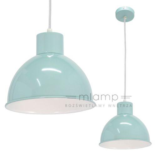 LAMPA wisząca E 49239 metalowa OPRAWA zwis IP20 pastelowy niebieski