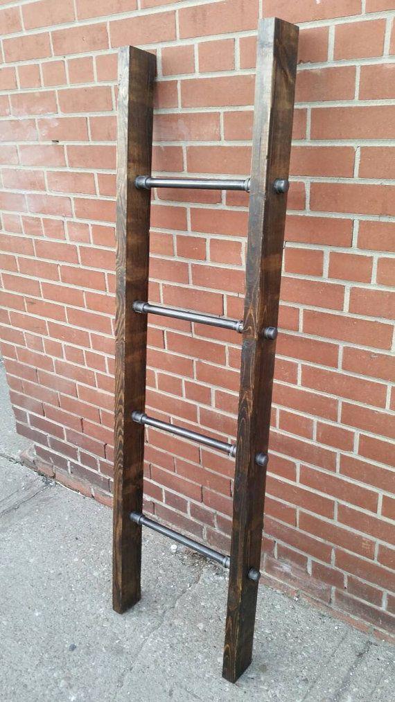 Tuyau industriel rustique et couverture bois échelle | échelle en acier couette…