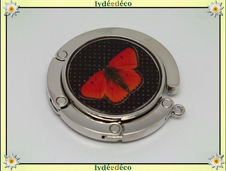 Accroche sac retro Papillons rouge et noir en resine sur metal argent : Autres accessoires par lydeedeco