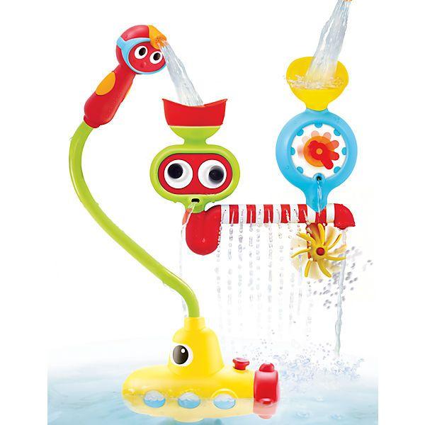 Das U-Boot-Wasserspiel von Yookidoo besteht aus einer Pump- und einer Wasseraktivitäts-Station, die mit einem Saugnapf am Boden der Badewanne bzw. seitlich an der Wand der Wanne befestigt werden.<br /> <br /> Sobald man den roten Knopf auf der Pumpstation drückt, zieht sie Wasser, das zum Taucher-Duschkopf läuft. Der Taucher wird durch Drücken der seitlichen Knöpfe aktiv und setzt eine Kettenreaktion von immer neuen, überraschenden Wasser- und Sprinklereffekten in Gang. Je nachdem, in…