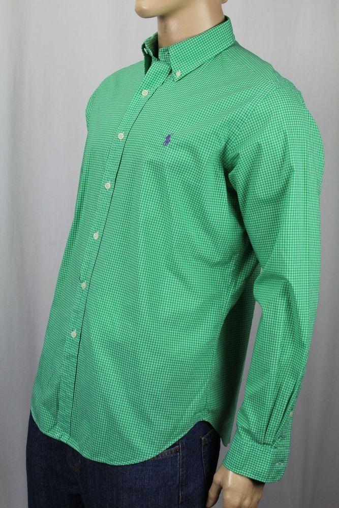 Polo Ralph Lauren Green Checkered Button Down Classic Fit Dress Shirt NWT #RalphLauren