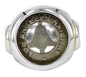 LA vintage rail token signet ring in sterling silver - $440
