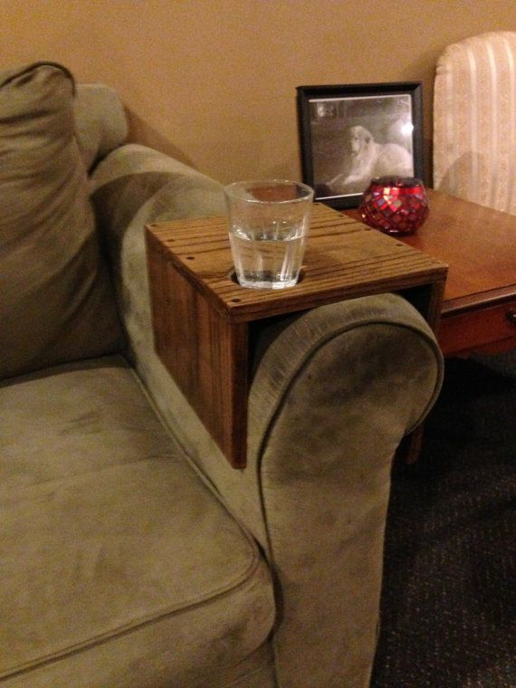 Solid Oak Couch Arm Wrap With Cup Holder Customized To