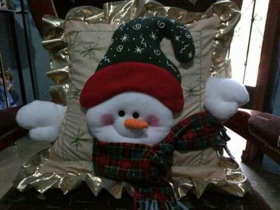 cojin rostro de muñeco de nieve