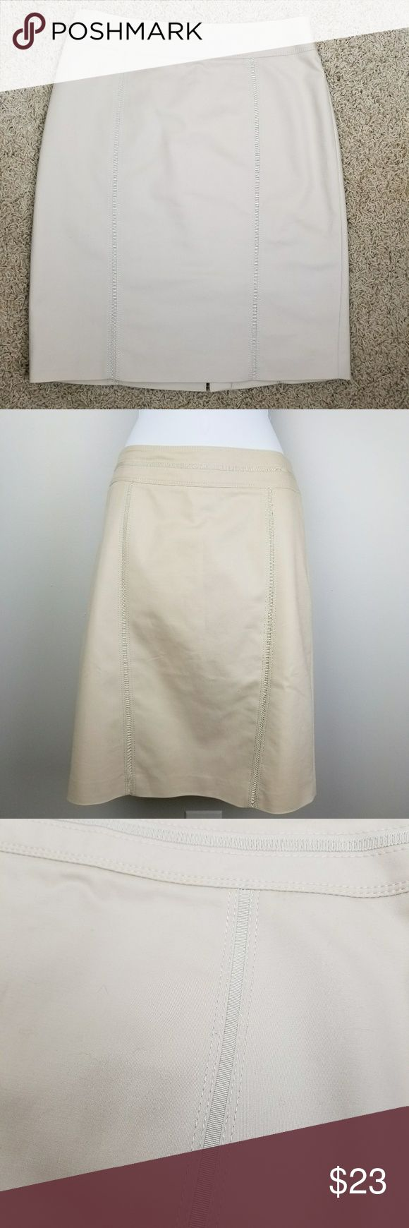 NWOT WHBM khaki pencil skirt of cotton and spandex White House Black Market 98% cotton 2% spandex lined pencil skirt with back vent and vertical grosgrain details. Center back invisible zipper. Knee length. Light khaki or oatmeal color Waist 31  Hips 39 Length 22.75 White House Black Market Skirts Pencil
